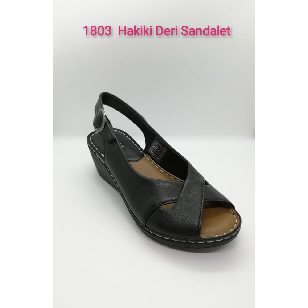 METSI BLACK  Hakiki Deri Sandalet