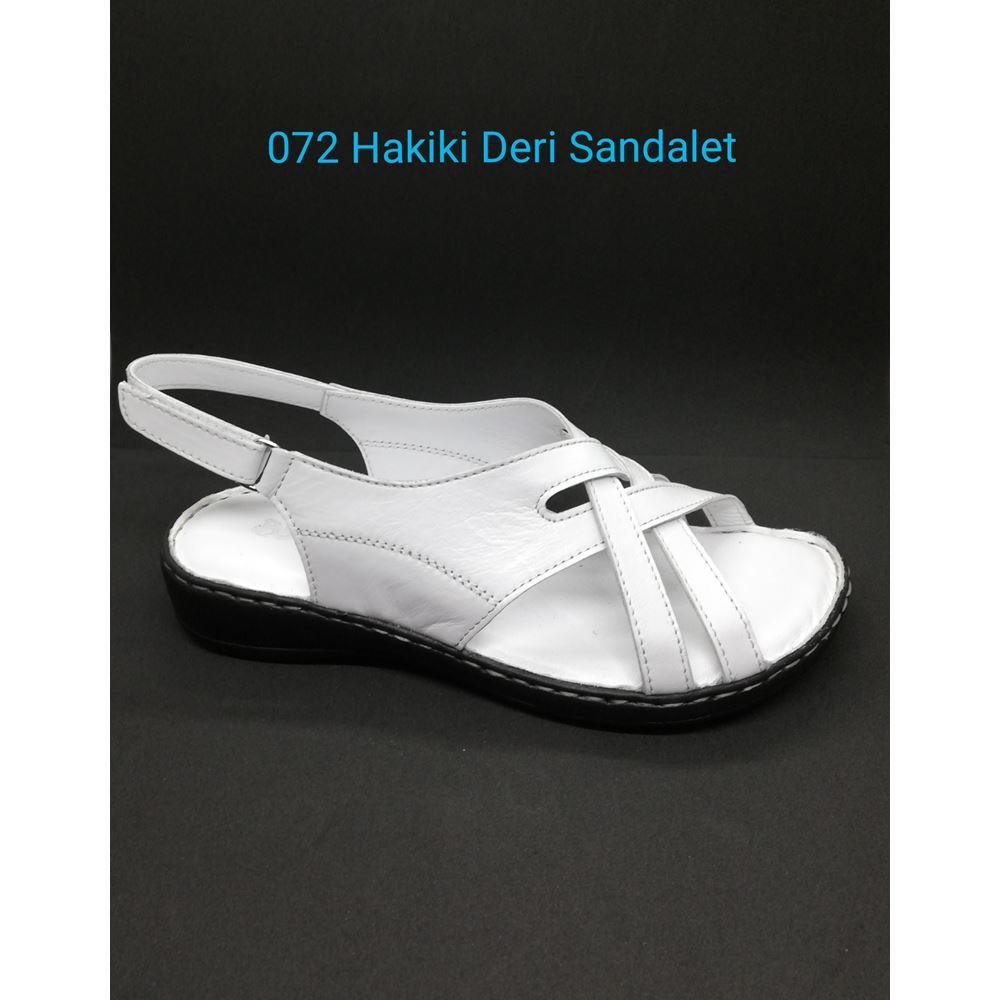 072 BEYAZ  Hakiki Deri Sandalet