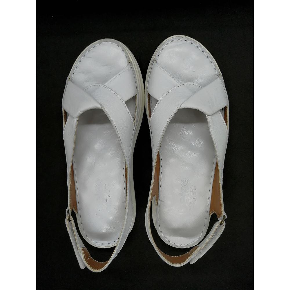 2064 BEYAZ Hakiki Deri Ortopedik Masaj Tabanlı Sandalet