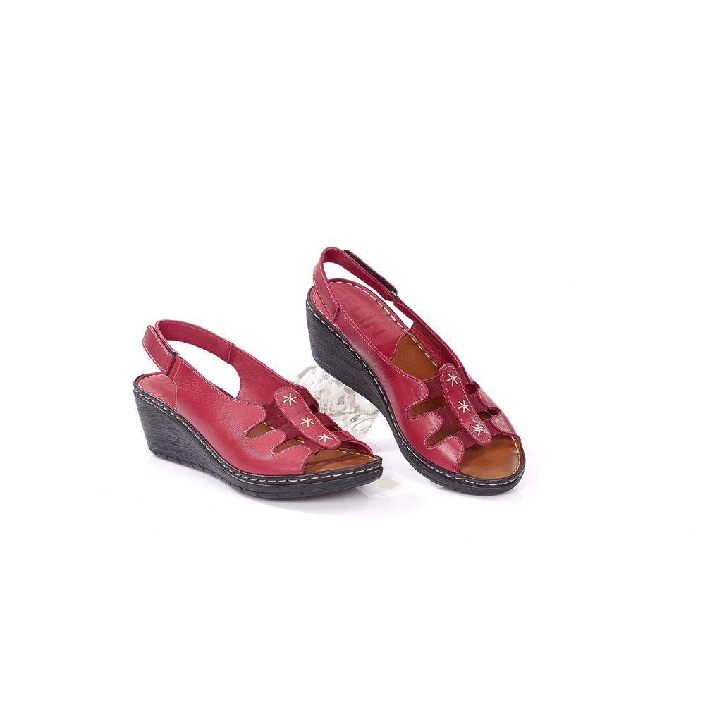 MOSSA BORDO Comfort Hakiki Deri Sandalet