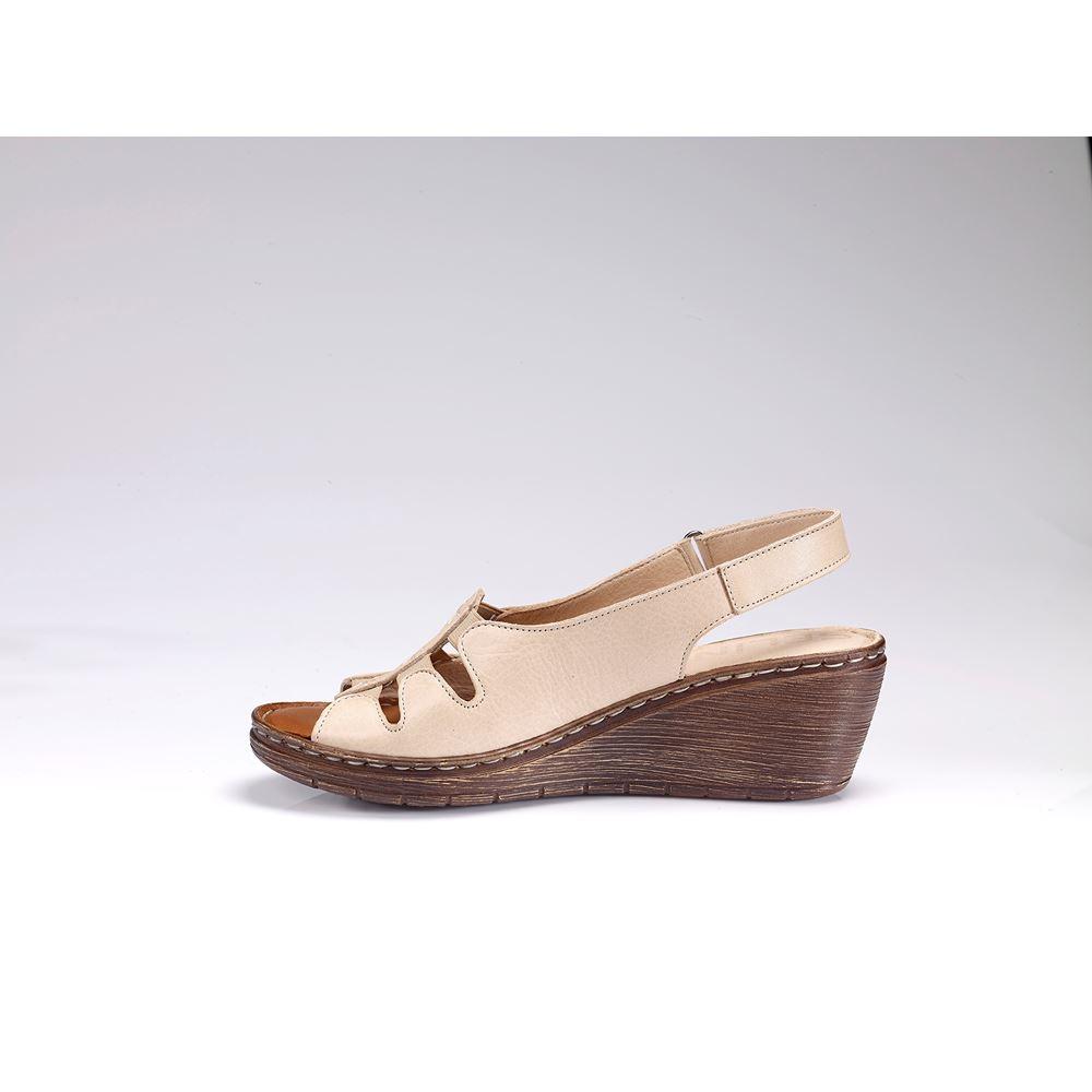 MOSSA BEJ  Hakiki Deri Comfort Sandalet