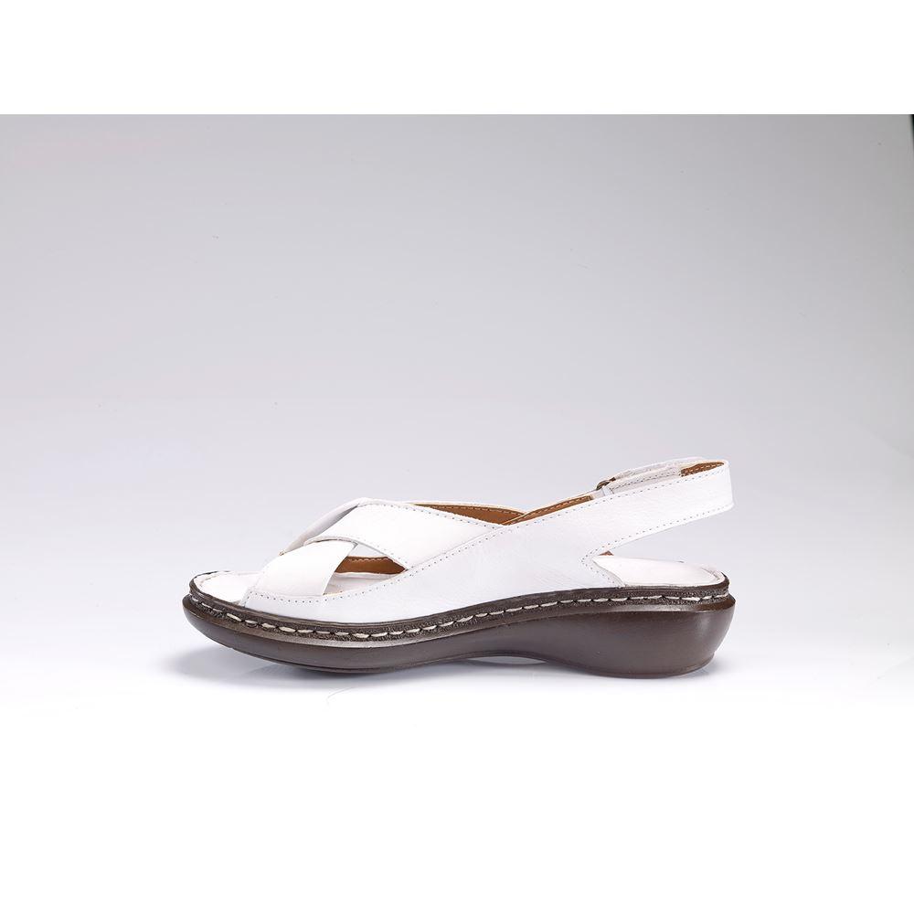 204 BEYAZ Hakiki Deri Ortopedik Masaj Tabanlı Sandalet