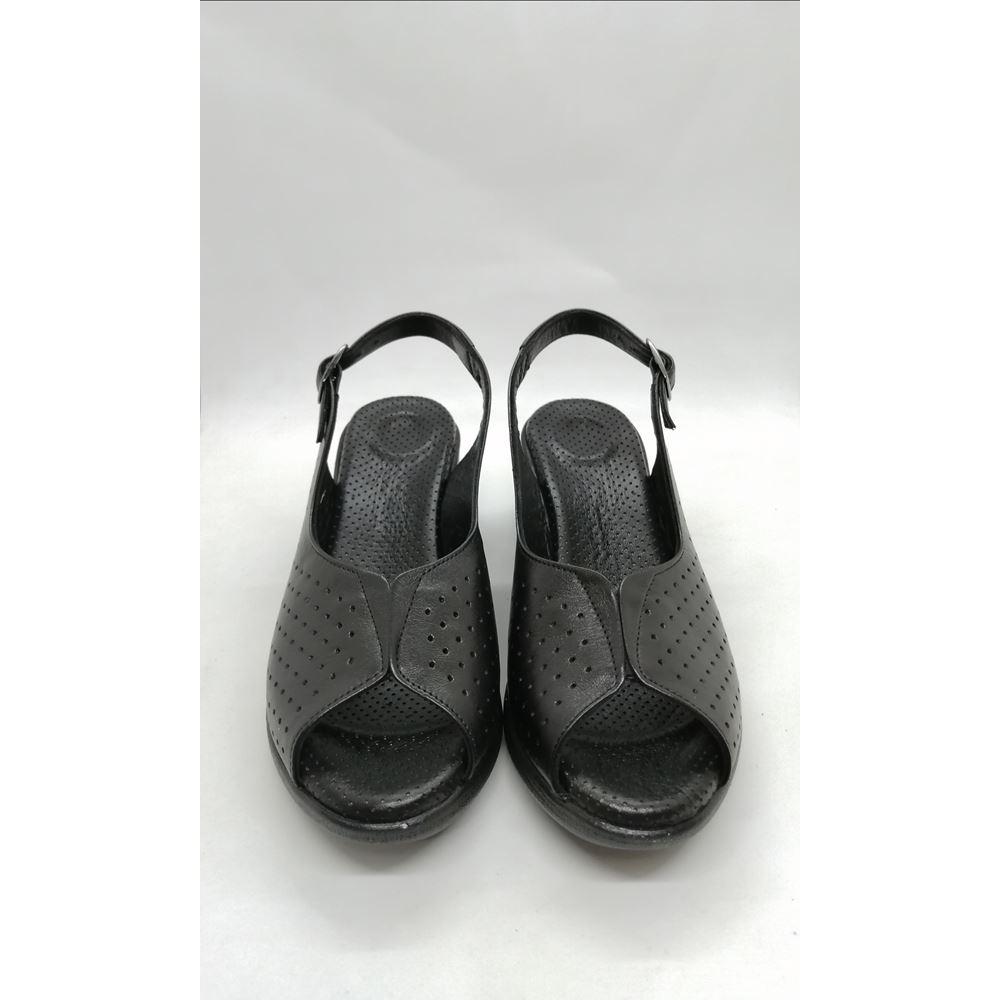 070 Siyah Hakiki Deri Topuk Dikeni Özellikli Yumuşak Taban Comfort