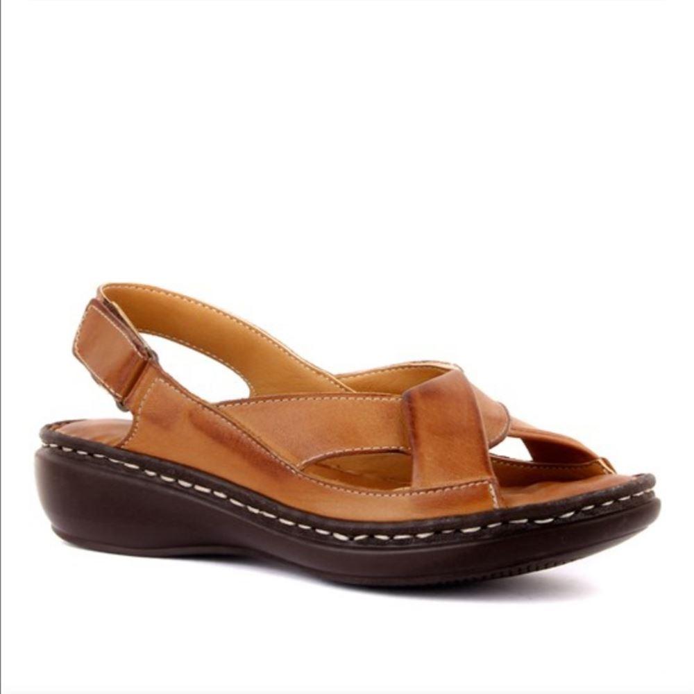 204 TABA Hakiki Deri Ortopedik Masaj Tabanlı Sandalet